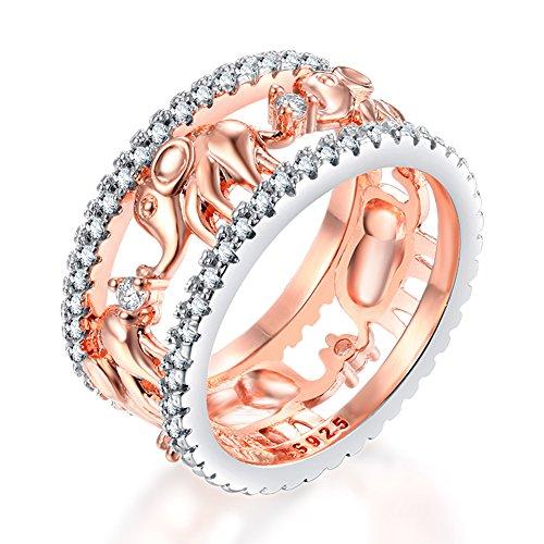 Impression 1 Pcs Anneaux Bague de éléphant Anneau de diamant de mode anneau de cristal Girl Accessoires de la bijouterie jour de la Saint Valentin Cadeaux de mariage anneau ouvert or rose