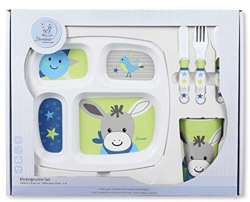 Sterntaler Geschirr-Set Erik, Teller, Becher, Löffel, Gabel, Messer, Alter: Für Babys ab 6 Monaten, Blau/Grün