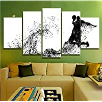 SHINERING Living Room HD Printed Painting 5 Panel Abstract Basketball White Black Modern Wall Art Pictures Home Decor Posters Frameless