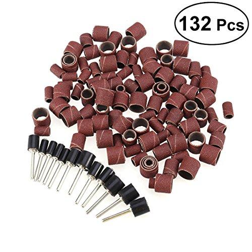 UEETEK 132 Stücke Schleifhülsen Schleifen Drum Set für Nagelfräser Maniküre Handwerk