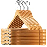 ZOBER High-Grade Wooden Hangers (20 Pack) - Premium Smooth Finish, Durable Wooden Coat Hanger/Clothes Hangers, 360° Hook & Dress Notches - Wood, Suit Hangers with Non Slip Trouser Bar