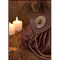 Portafoglio con corno pulsante, sacchetto, grande in marrone scuro Pelle––LARP–Vichinghi medievale