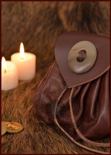 Geldbeutel mit Hornknopf, dunkelbraun Lederbeutel, groß Ledertasche - Wikinger - LARP - Mittelalter