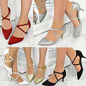 03d8a0b885a090 Heelberry® Womens Ladies Low Kitten Heel Party Prom Strappy Court Shoes  Bridal Sandals Size