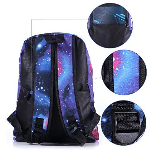 Neue heiße Verkauf Galaxy Rucksack unisex Schultasche Reisetasche (blue) - 4