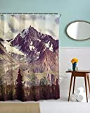 A.Monamour Schneebedeckten Berg Und Wald Szenische Tuch Polyester Wasserdichte Duschvorhänge Textil Bad Dekoration 180X200 Cm / 72