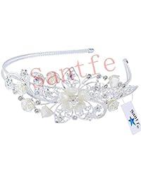 Santfe Crystal Bridal Jolies Serre-Tête/ Bandeau/ Cheveux Accessoires Perle avec Grande Fleur Mode Rétro