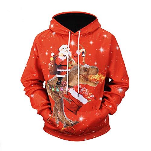 SIFNG Lustige Design Cosplay Weihnachtsmann Reiten EIN Dinosaurier 3D Gedruckt Kapuzenpullis Mendrawstring Hoodies (Comic Con Kostüm Lustig)