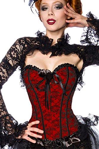 loveorama.de Burlesque Vollbrust Corsage mit Spitzen-Besatz und klassischem Schnürverschluss A12120, Größe:34;Farbe:rot