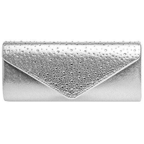 Caspar TA422 elegante Damen Baguette Envelope Clutch Tasche mit Strass Dekor, Farbe:silber, Größe:One Size