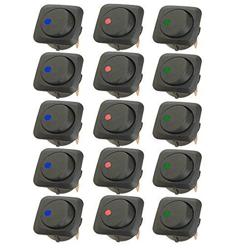 Mintice 15 X 25mm Véhicule de voiture Camion de bateau Rond Commutateur à bascule Interrupteur à bascule Lumière LED 12V 25A bleu rouge vert
