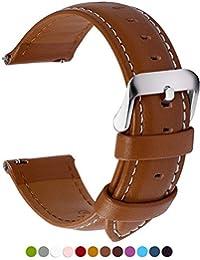 12 Colores para Correa de Reloj,Fullmosa®Axus Piel Correa Huawei Samsung Correa/Banda/Band/Pulsera/Strap de Recambio/Reemplazo 14mm 16mm 18mm 20mm 22mm 24mm,Marron 18mm