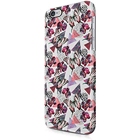 Orchid Blossom Butterfly & Triangles Pattern Apple iPhone 6 / iPhone 6s Snap-On Hard Plastic Protective Shell Case Cover
