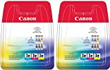 Canon BCI-3 Original Tintenpatronen cyan magenta gelb in transparent Folie Verpackung (Twin Set, 6 Patronen)