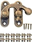 FUXXER - 12x Antik Verschlüsse Rasthaken | Bronze Eisen Design | Für Schieber Truhen Kisten Dosen im Vintage Landhaus Retro Stil | 32x28mm inklusive passende Schrauben | 12er Set