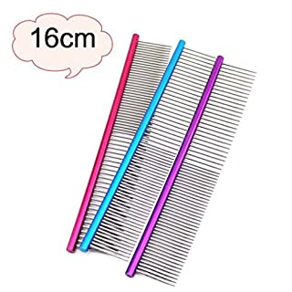 Dog Grooming Comb ,AmaMary ❀✿✾ 16CM Dog Comb Professional Lightweight Stainless Steel Grooming Comb Dog Cat Cleaning Brush (Red)