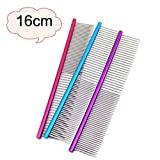 Dog Grooming Comb ,AmaMary ❀✿✾ 16CM Dog Comb Professional Lightweight Stainless Steel Grooming Comb Dog Cat Cleaning Brush (Purple)