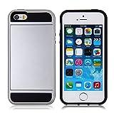 Eazyhurry - Funda para iPhone con Tarjetero Deslizante para iPhone (Incluye Carcasa rígida de policarbonato y TPU Suave), Plata, iPhone 4/4S