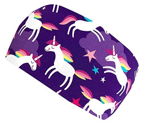 Wollhuhn ÖKO Mädchen Süßes HAPPY UNICORN Einhörner Haarband/Stirnband Violett (aus Öko-Stoffen, bio) 20190030