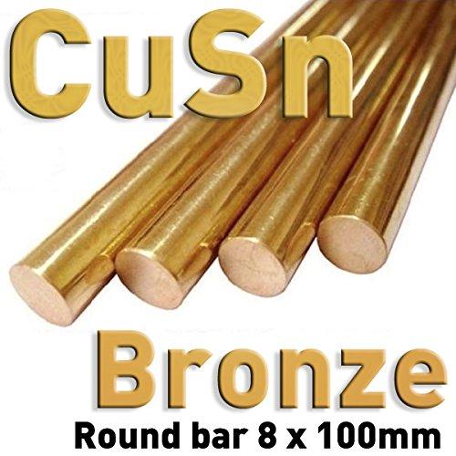 Bronce - Varillas de metal puro, 8 x 100 mm, CuSn, para el análisis comparativo de las propiedades del material, muestras de referencia, pruebas de materiales
