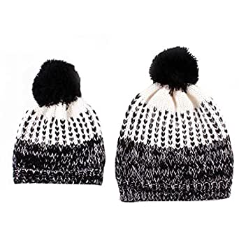 Covermason 1Set Mommy And Baby Knitting Hat Outside Matching Outfit Warmer Hat Family Wool Cap (Black)