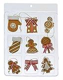 9 tlg. Set Lebkuchen Anhänger Baumschmuck Figuren Pfefferkuchen Design Aufhänger aus Polymer Ton