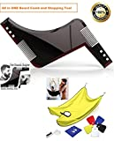 #4: Beard Apron Trimmings Catcher & Cuttings Waterproof Apron + Beard Shaping Tool Template Curve cut / Step cut / Jaw line / Neckline / Sideburn Shaper Stencil Symmetry Trimming ( Combo ) By Orange Creations