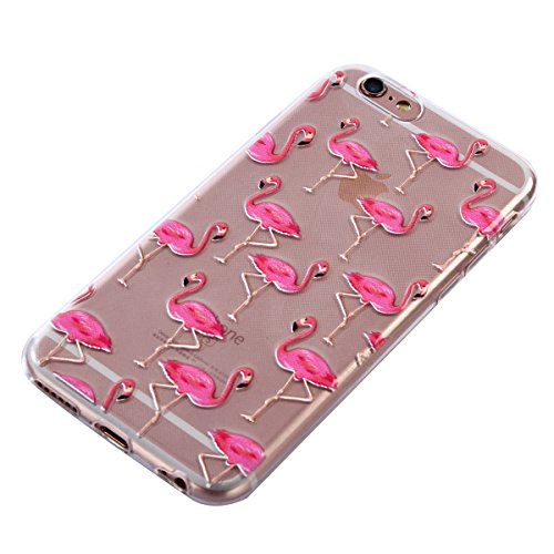 iPhone 6S Hülle,iPhone 6 Hülle,iPhone 6/6S Silikon Hülle [Kratzfeste, Scratch-Resistant],SainCat TPU Case Schutzhülle Silikon Crystal Kirstall Clear Hülle Transparent Handyhülle,Muster Weichem Ultra S Flamingos