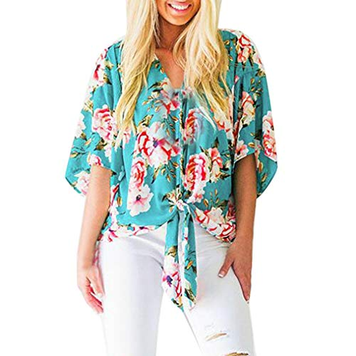 Zarupeng Chiffon-Shirt, Damen Trompete Ärmel V-Ausschnitt Bluse Druck Bandage Hemdbluse Einfache Lose Oberteile