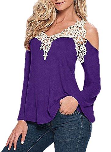 Bigood Femme T-shirt Manches Longue Sans Bretelles Blouse Dentelle Chemise Uni Violet