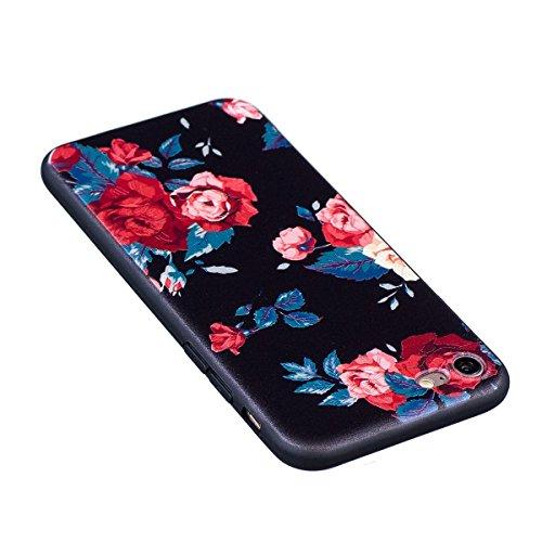 Cover iPhone 7, Custodia iPhone 7, Case in Silicone Nero Morbido TPU, Surakey Protettiva Bumper Back Cover Gomma Soft Sottile e Flessibile Custodia Gel Rubber Leggero Antiscivolo Antiurto Protezione P Rose