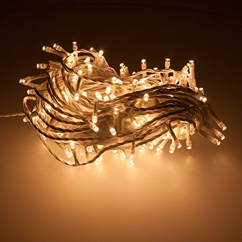 Smartfox 300 LED 30m warmweiß Lichterkette Weihnachtsbeleuchtung Weihnachtsdekoration Dekobeleuchtung Weihnachtsbaumbeleuchtung für Innen Außen in Kabelfarbe: Weiß