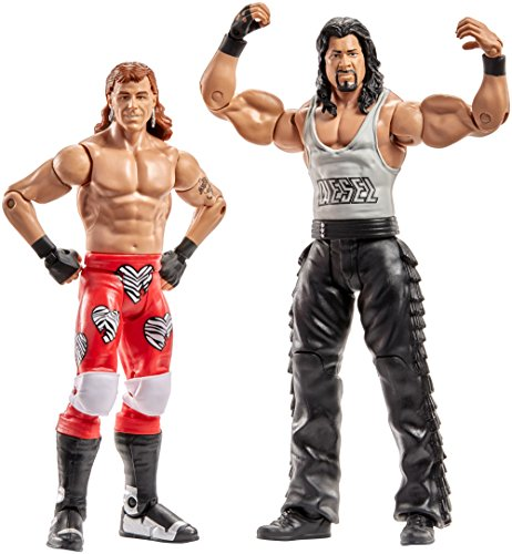 Mattel DXG44 WWE Shawn Michaels und Diesel 15 cm Basis Figuren 2er-Pack, Spielzeug Actionfiguren ab 6 Jahren (Shawn Michael Wwe Spielzeug)