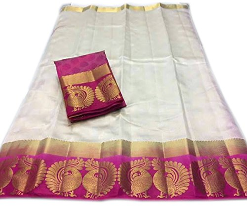 Nirja Creation Cotton Silk Saree (NC-OD-MOR-01_White_Free Size)