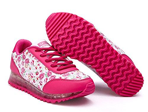 Dayiss Ladies Floral Sneaker 7 Colori Usb Ricarica Led Luminosi Scarpe Sportive Sneakers Corridori Scarpe Da Corsa Rosa