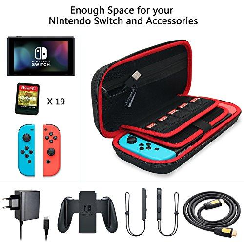 Mountain Forged Funda para Nintendo Switch  Dura Transporte Rígida Viaje Case Más Espacio de Almacenamiento Bolsa para 19 Juegos y Accesorios Negro
