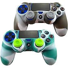 Pandaren® Piel Fundas Protectores para el Mando PS4 x 2 + pulgar agarre thumb grip x 4(blanco negro + verde blanco)