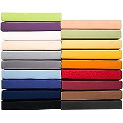 Jersey Spannbettlaken 90x200 - 100x220 cm für Boxspringbetten u. Wasserbetten, Mako-Baumwoll Qualität, klassisches Spannbetttuch für hohe Matratzen, aqua blau, aqua-textil 0010154 Serie PUR