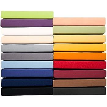 Jersey Spannbettlaken 90x200 - 100x220 cm für Boxspringbetten u. Wasserbetten, 160g/m² Mako-Baumwoll Qualität, klassisches Spannbetttuch für hohe Matratzen, rubin rot, aqua-textil 0010163 Serie PUR