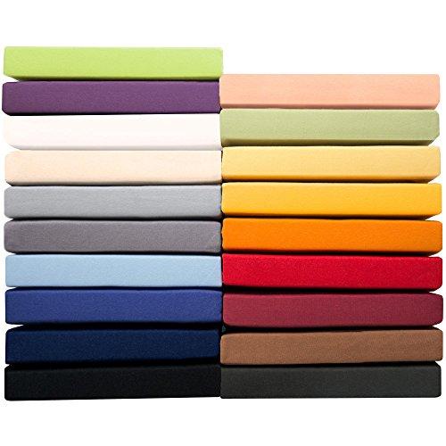 Jersey Spannbettlaken 180x200 - 200x220 cm für Boxspringbetten u. Wasserbetten, Mako-Baumwoll Qualität, klassisches Spannbetttuch für hohe Matratzen, lila, aqua-textil 1000818 Serie PUR (Auf Spannbetttuch Einem)