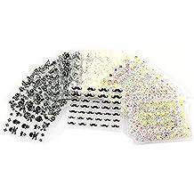 Tinksky 50 hojas de color mezclado 3D diseño punta Autoadhesivos Nail Art pegatinas de calcomanías de uñas Tips decoraciones