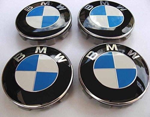 Preisvergleich Produktbild Set von 4 BMW Alufelgen Center Radkappen 68mm Abdeckung Carbon- Rad -Abzeichen