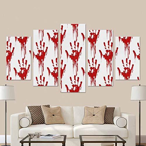 Lustige blutige Hände Horror Halloween Thema Home Office Dekoration Leinwand Wandkunst Drucke mit Rahmen 5 Stücke