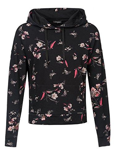 Vive Maria Cosy Flower Hoodie schwarz Allover, Größe:L - Womens Lounge L/s Shirt