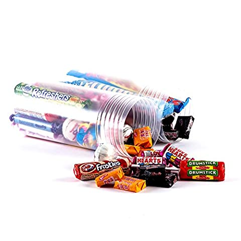 Retro Sweet Chewbz Regular Size by Chewbz, filled with 17 different classic retro sweets in a clear tube so all are on display. Including black jacks, fruit salads, parma violets and more. Fantastic value and a perfect present for retro sweet fans.