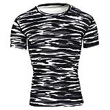 Nibesser Homme Sport Camouflage T-shirt Anti-odeur Antibactérien Ultra-respirant Séchage Rapide Col Rond Bien pour Sport Fitness Jogging Exercice Série