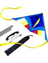 EMMAKITES Super einfach zu fliegen Kite - Miss Sora Rainbow Delta Kite 1.5 Meter Cute Joyful - RTF Kit mit Doppel Kite Tails & 100M Kite String - Nizza Handwerk Ideal für Anfänger Kinder Erwachsene