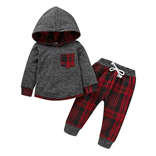 Deloito Säugling Kleinkind Baby Kleidung Set Jungen Mädchen Langarm Plaid Bedruckter Kapuzenpullover Sweatshirt Tops + Hosen Zweiteiliger Anzug (Grau-B,70/[0-6 Monate]) (Baby Im Carrier Kostüm)