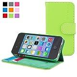Snugg iPhone 4 / 4s Leder Hülle (grün) – Flip Case mit lebenslanger Garantie + Kartenfächern & Standfunktion