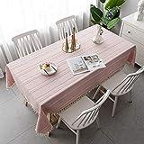 Amcerd Indoor Tischdecke, Baumwolle Leinen Abwaschbar Wasserabweisend Für Home Küche Dekoration, Verschiedene Größen - Pink 140x275cm